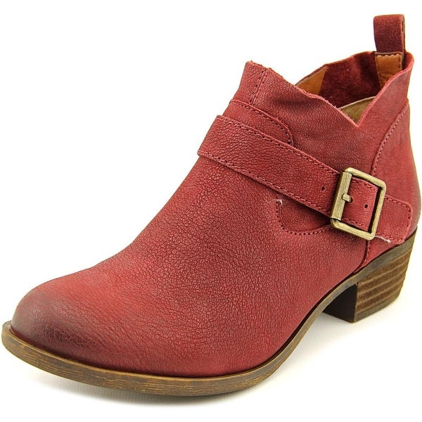 Lucky Brand Boomer Women Round Toe Leather Burgundy Ankle Boot