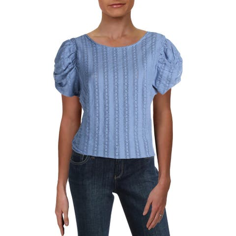 Free People Womens Pullover Top Eyelet Puff Sleeves
