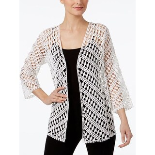 Alfani Cotton Crochet Open-Front Cardigan, White, Size S