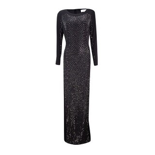 Calvin Klein Women's Studded Column Jersey Gown - Black