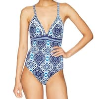 Tommy Bahama Blue White Womens Size 10 One-Piece V-Neck Swimwear