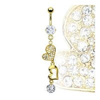 Gold Plated Prong-Set Gem Navel Belly Button Ring with Gold Plated Heart and CZ Dangle