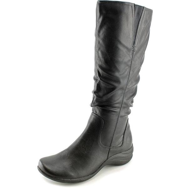 Hush Puppies Feline Alternative Wide Calf Women Round Toe Black Mid Calf Boot