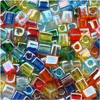 Miyuki 4mm Glass Cube Bead Mix 'Transparent Rainbow AB' 10 Grams