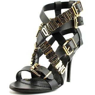 Moschino Logo Plaque Strappy Sandals Women Open Toe Leather Black Sandals