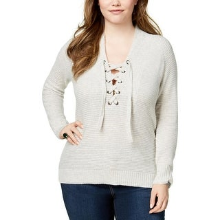 Lucky Brand Womens Plus Tunic Sweater Lace-Up Long Sleeves - 1X
