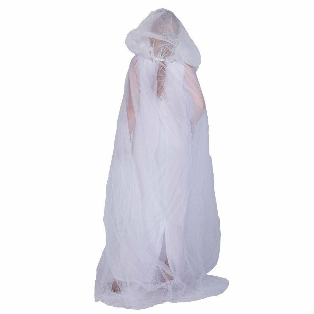 Ghost Costume Cape Adult Gothic Sheer Hooded Cloak Halloween Fancy Dress FI