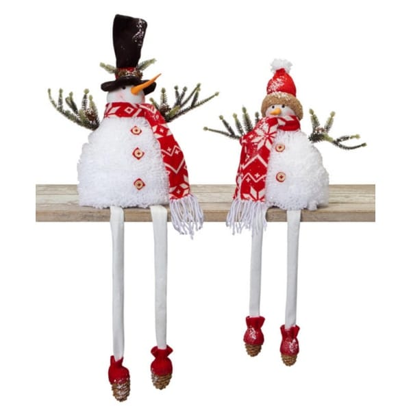 Set of 2 Glittered Snow Covered Smiling Snowman with Dangling Legs Christmas Table Top Figures 16""