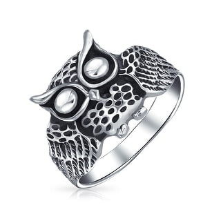 Protection Old Wise Owl Bird Band Ring Oxidized 925 Sterling Silver