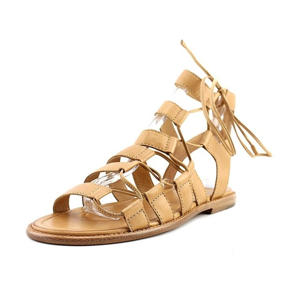 Frye Blair Side Ghillie Women Open Toe Leather Tan Gladiator Sandal