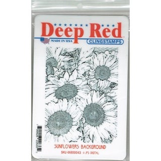 Deep Red Stamps Sunflowers Background Rubber Cling Stamp - 3 x 4