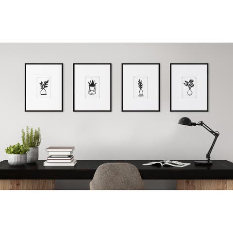 Kate and Laurel Liev Modern Botanical Framed Print Art Set - Black