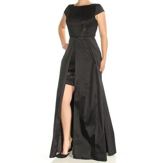 Womens Black Cap Sleeve FullLength Fit + Flare Formal Dress Size: 8
