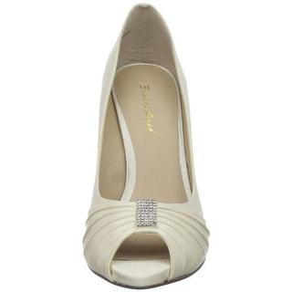 Brianna Leigh Womens Isabella Silk Peep-Toe Evening Heels - 8 medium (b,m)
