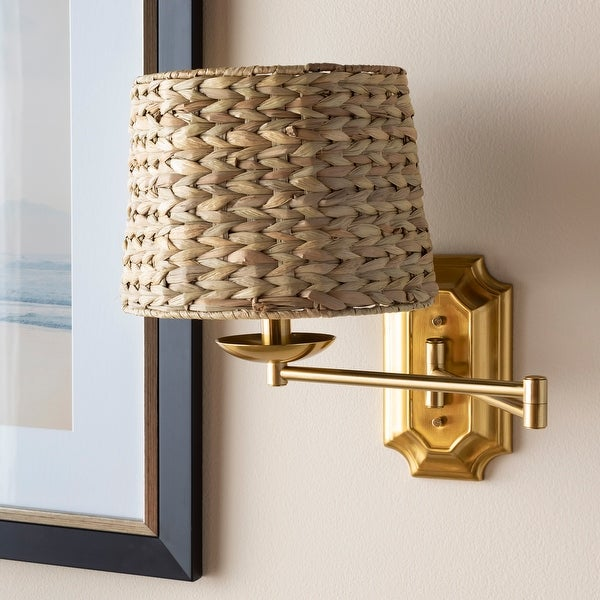 """Aubre Woven Rattan Swing Arm Wall Sconce - 14.5""""H x 14""""W x 11""""D. Opens flyout."""