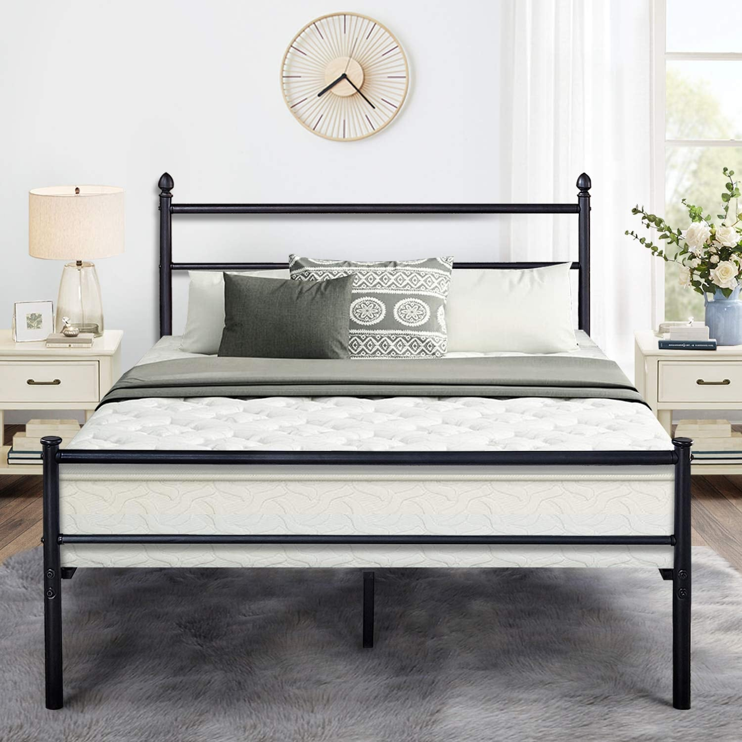 Black Classic Metal Bed Frames With Simple Headboard And Footboard By Vecelo Twin Full Queen 3 Size Options Overstock 28865051