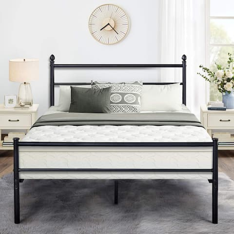 Black Classic Metal Bed Frames with Simple Headboard and Footboard by VECELO