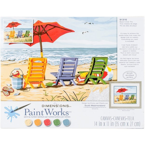 """Paint Works Paint By Number Kit 14""""X11""""-Beach Chair Trio"""