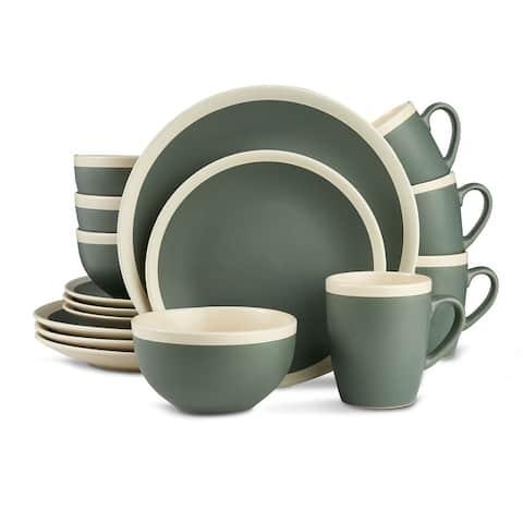 Stone Lain Stoneware Round Dinnerware Set, 2 Tone with Speckles