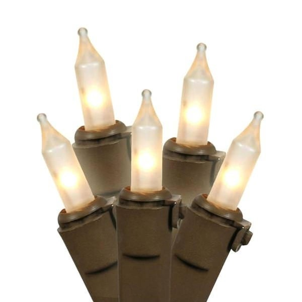 "Set of 50 Frosted White Mini Christmas Lights 6"" Spacing - Brown Wire"