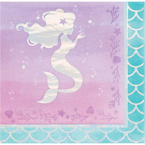 """Club Pack of 192 Pink and Blue 3-Ply Mermaid Printed Luncheon Napkins 6.5"""" - N/A"""