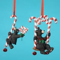 Club Pack of 12 Peppermint Twist Black Bear Christmas Ornaments - multi