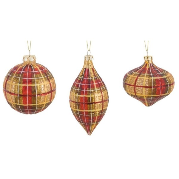 Pack of 6 Decorative Glass Elegant Plaid Ornament