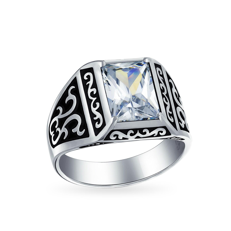 Sterling 925 Silver Handcraft  Men/'s Jewelry Elegant Emerald  Men/'s Ring