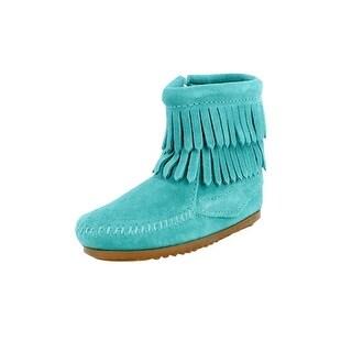 Minnetonka Boots Girls Double Fringe Side Zip Suede Turquoise
