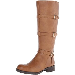 Franco Sarto Womens Petite Buckle Faux Leather Motorcycle Boots