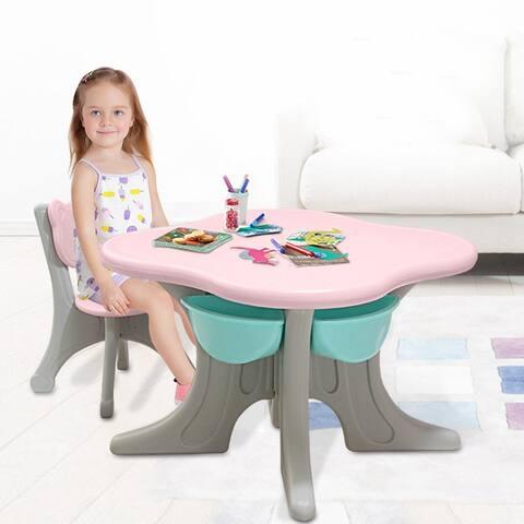Kids Table And 2 Chair Set Children Activity Art Desk With Storage Bin