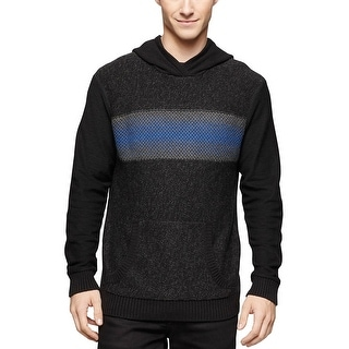 Calvin Klein Jeans Electric Stripe Hoodie Sweater Black and Grey X-Large - XL