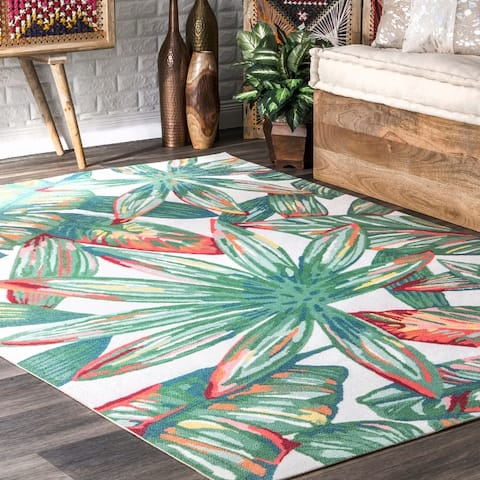nuLOOM Multi Indoor/Outdoor Contemporary Tropical Majestic Floral Bloom Area Rug