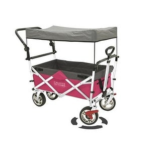 Push And Pull Kid 900552 Folding Collapsible Wagon Stroller With Shade Canopy