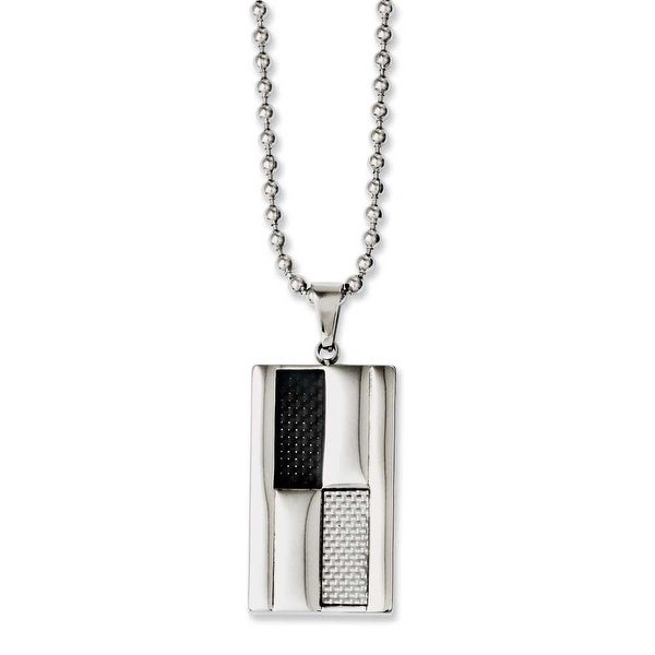 Chisel Stainless Steel Black & Grey Carbon Fiber 24in Necklace (3 mm) - 24 in
