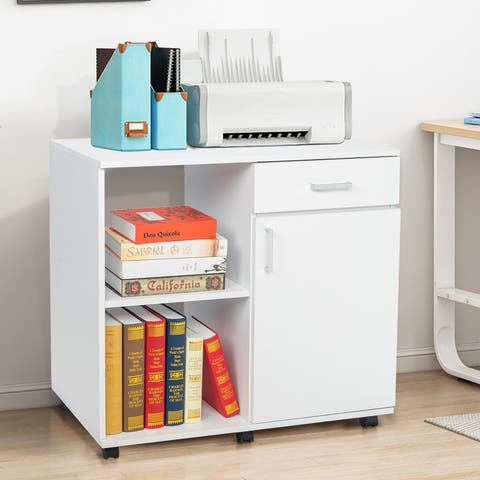 2 Layers Wooden Filing Cabinet with Wheels