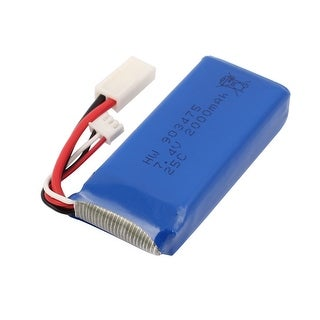 DC 7.4V 2000mAh Rechargable Lithium Battery Pack Blue w White Connector