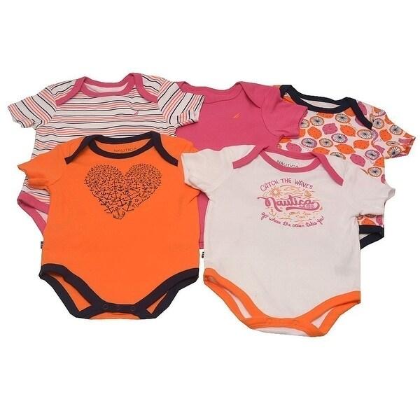 Nautica Baby Girls Orange Fuchsia Stripe Anchor Print 5 Pcs Bodysuit Set 3M