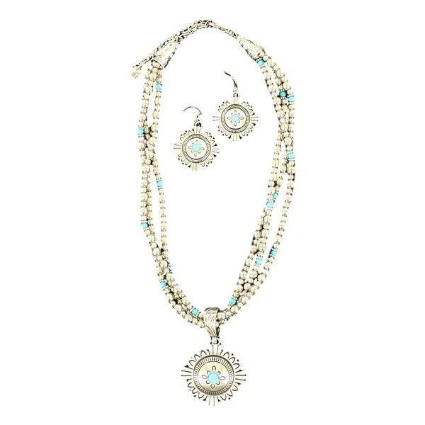 Blazin Roxx Western Jewelry Women Necklace Earrings Beads Silver 29098
