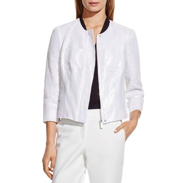 Vince Camuto Womens Jacket Linen Shimmer