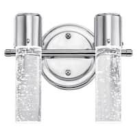 "Westinghouse 6307700 Cava 10"" Wide 2 Light LED Bathroom Vanity Light with Seedy Glass Shades - Chrome"