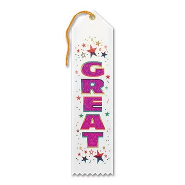 "Pack of 6 White ""Great Award"" School Award Ribbon Bookmarks 8"" - N/A"