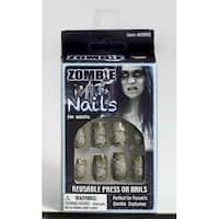 Zombie Press On Nails Costume Accessory - gray