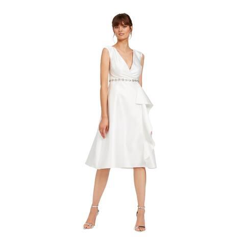 ADRIANNA PAPELL White Sleeveless Below The Knee Dress 6