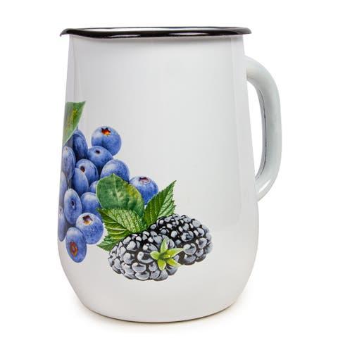 STP Goods 2.7 Qt Blueberry Garden Enamel on Steel Jug / Pitcher