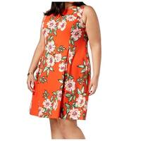 Jessica Howard Orange Women's Size 20W Plus Floral A-Line Dress