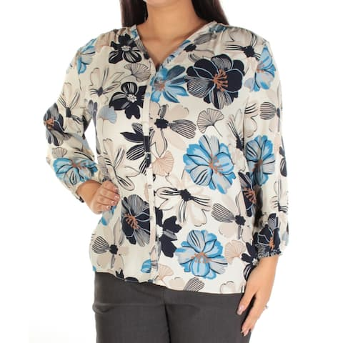 CHARTER CLUB Womens Ivory Button Up Floral Long Sleeve V Neck Hi-Lo Top Size: L