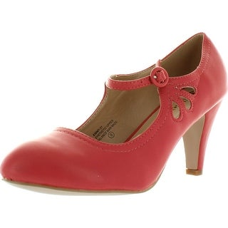 Chase And Chloe Kimmy-21 Mary Jane Teardrop Cutout T-Strap Pump Heel - Coral