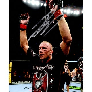 Georges St. Pierre Signed UFC MMA Arms Raised 8x10 Photo (In Silver)