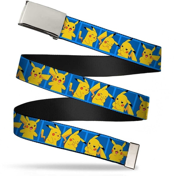 Blank Chrome Buckle Pikachu 5 Pose Blocks Blues Webbing Web Belt